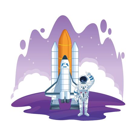 space exploration space shuttle and astronaut pointing up with water colorful background icon cartoon vector illustration graphic design