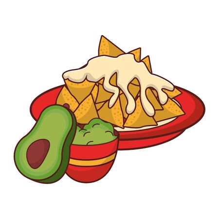 mexico culture and foods cartoons plate with nachos and melted cheese also guacamole and avocado vector illustration graphic design
