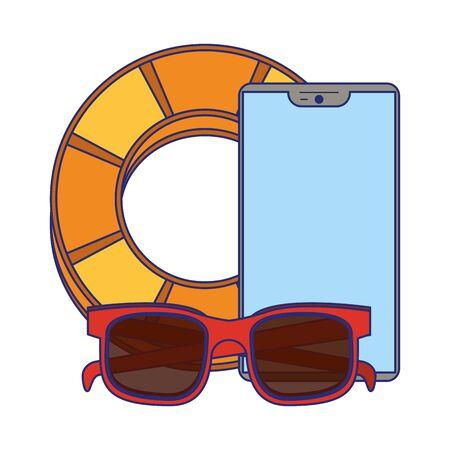 Summer lifesaver float sunglasses and smartphone cartoons vector illustration graphic design
