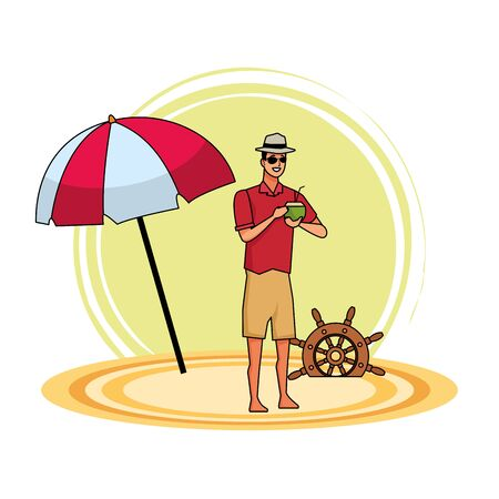 Young man in summer time drinking cocktail at beach cartoon vector illustration graphic design 일러스트