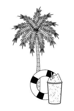 summer beach and vacation with lifebuoy, palm and smoothie drink icon cartoon in black and white vector illustration graphic design