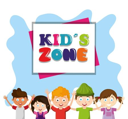 kids zone children entertaiment boys and girls below a sign avatar cartoon character vector illustration graphic design