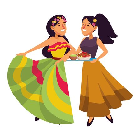 mexican traditional culture mariachis with dancer woman with flower in her hair and woman with flowers in her hair holding a tray with bowl of beans, guacamole and chili pepper avatar cartoon character vector illustration graphic design