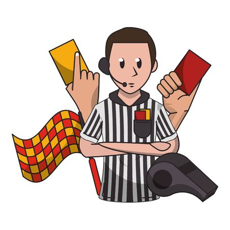 Soccer referee with cards flag and whistle cartoon vector illustration graphic design Archivio Fotografico - 129577749