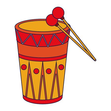 music instrument musical drum object cartoon vector illustration graphic design Stock Vector - 129577833