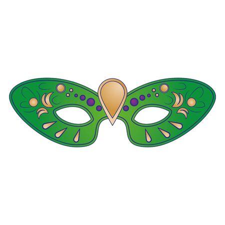 festive carnival party green mask decoration cartoon vector illustration graphic design Çizim