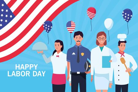 Happy labor day card with professional workers and united states flag, USA holiday celebration. vector illustration graphic design. Foto de archivo - 129577868