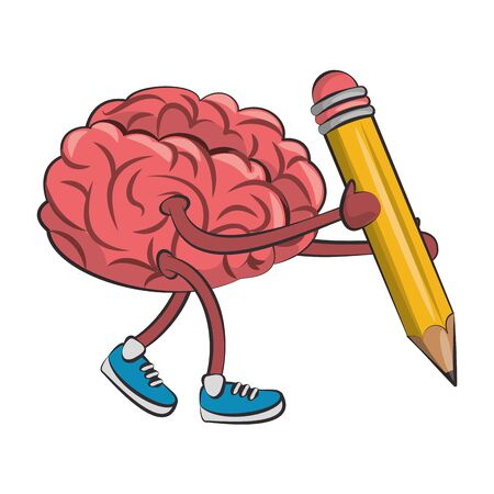 Brain with shoes holding pencil cartoons vector illustration graphic design Illusztráció