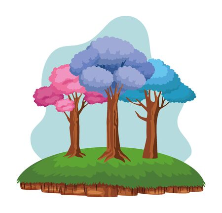 colorful trees over a piece of ground leafy with purple, pink and blue leaves icon cartoon  イラスト・ベクター素材
