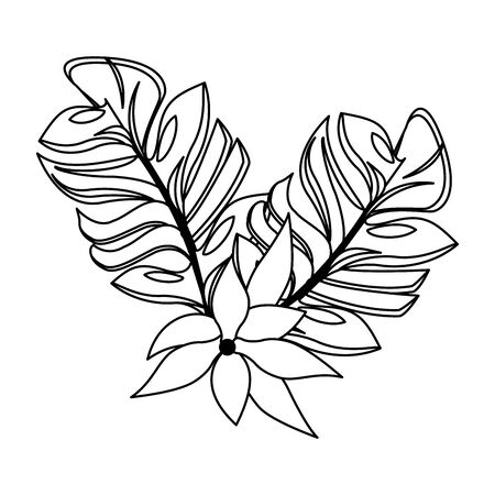 tropical floral botanical environment, beautiful spring flower cartoon vector illustration graphic design Çizim