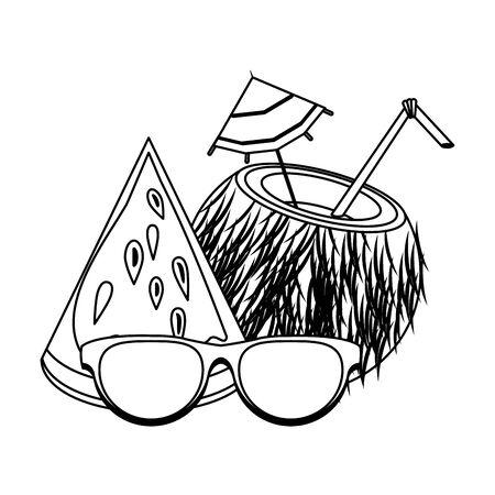 Summer sunglasses cartoons drinks and cocktails vector illustration graphic design Stock Illustratie