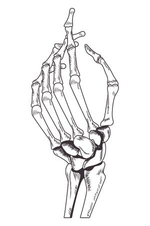 skeleton hand drawn in black and white tattoo icon vector illustration graphic design