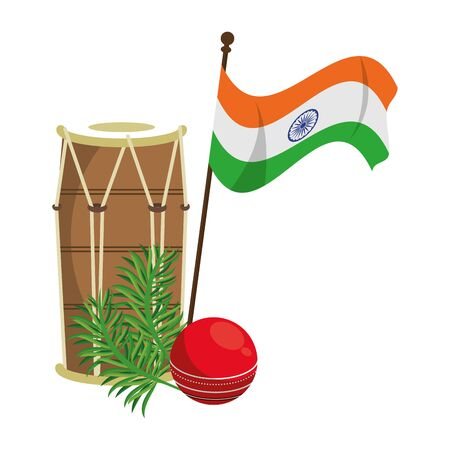 India independence day emblems drum and flag with leaves cartoons vector illustration graphic design Çizim