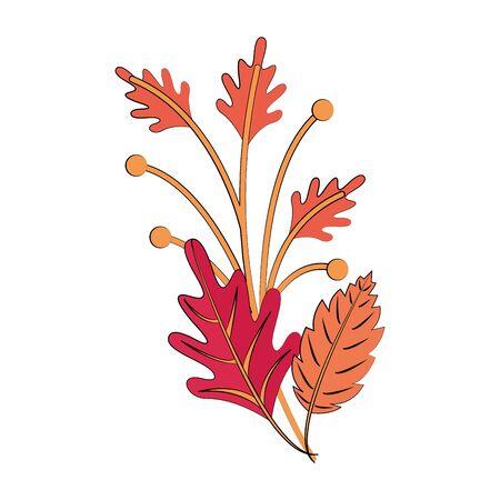 Autumn season leaves bouquet cartoon vector illustration graphic design