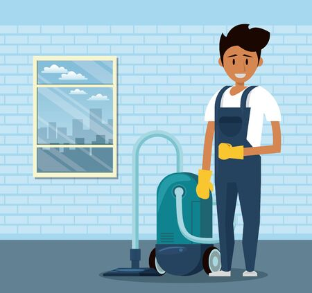 Cleaner smiling and working with cleaning product in home scenery vector illustration Stock Illustratie