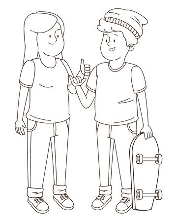 Teenagers friends greeting with cool hand sign and holding skateboard ,vector illustration graphic design.