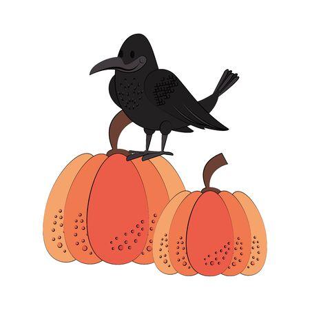 Wild animals and autumn season cartoons crow and pumpkins vector illustration graphic design Çizim