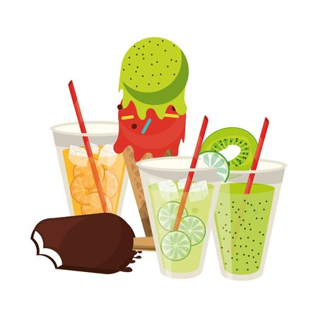 Lemonade and orange cups with ice cream cone cartoon vector illustration graphic design