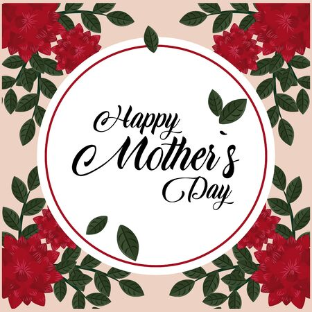 Happy mothers day card with flowers round frame round frame vector illustration graphic design Çizim