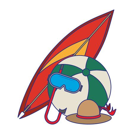 Summer and travel surf table beach ball and hat with diving mask cartoons vector illustration graphic design
