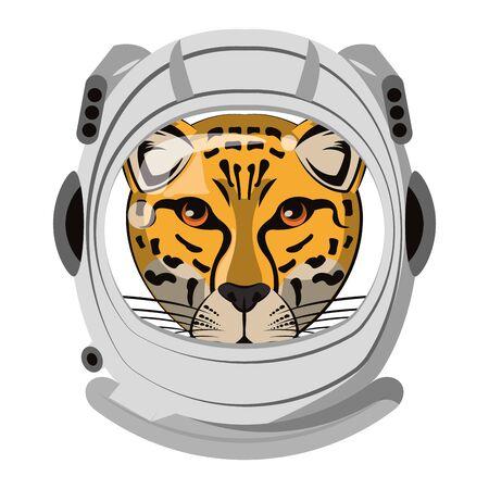 Leopard with astronaut helmet cartoon isolated vector illustration graphic design