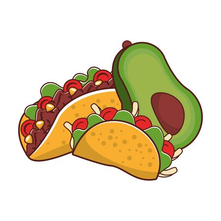 mexico culture and foods cartoons tacos and avocado vector illustration graphic design  イラスト・ベクター素材