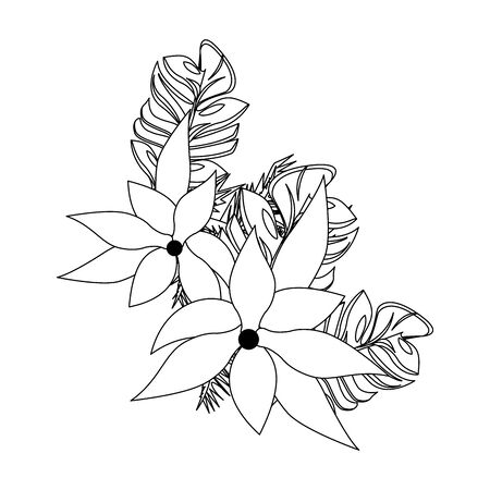tropical floral botanical environment, beautiful spring flowers cartoon vector illustration graphic design