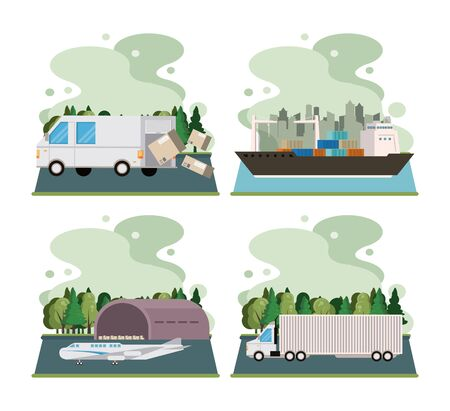 transportation merchandise logistic cargo vehicles making delivery and traveling by distribution route cartoon vector illustration graphic design Banque d'images - 129578793