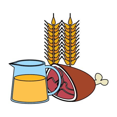 Healthy food and delicious ingredients orange juice and beef meat with wheat vector illustration graphic design Illustration
