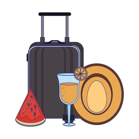 Summer and beach vacations luggage cocktail hat and watermelon cartoons vector illustration graphic design