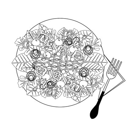 Healthy salad with vegetables in dish with fork vector illustration graphic design Illustration