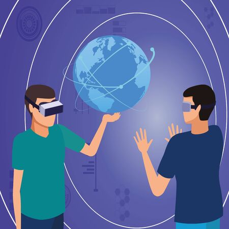 virtual reality technology, young men friends living a modern digital experience with headset glassestouching world map cartoon on blue digital background ,vector illustration.