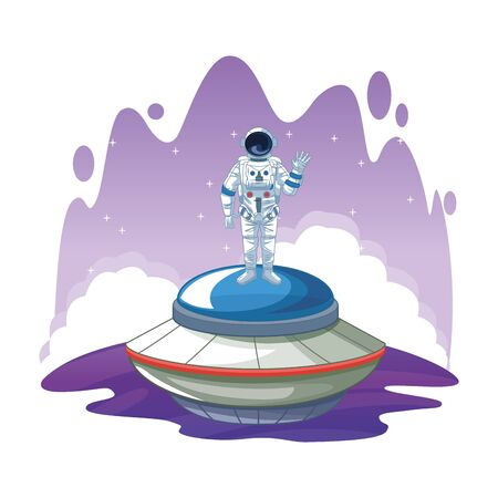 space exploration astronaut saying hi over a flying saucer with water colorful background icon cartoon vector illustration graphic design Stock Illustratie