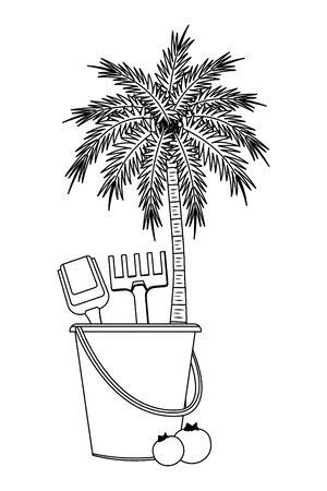 summer beach and vacation with sand bucket with slove and rake toys, tropical fruit and palm icon cartoon in black and white vector illustration graphic design Stock Illustratie
