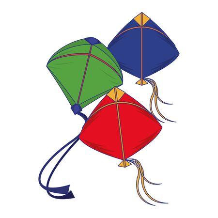 Three kites flying isolated cartoon vector illustration graphic design Çizim