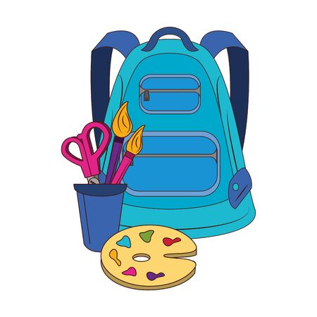 Back to school education backpack and paint palette with scissors and brushes in cup cartoons vector illustration graphic design Çizim