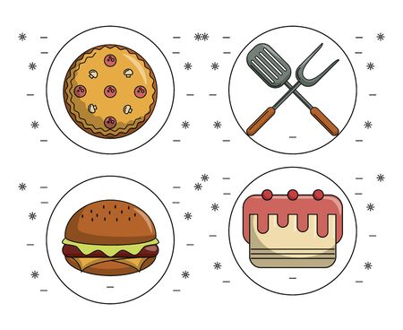 Set of food icons collection vector illustration graphic design