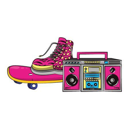pop art retro vintage classic sexy cool trendy, soul disco music objects cartoon vector illustration graphic design Standard-Bild - 129585906