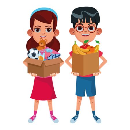 two young little kids girl with a box with toys and boy with box of fruit avatar carton character vector illustration graphic design