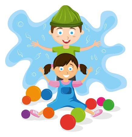 kids zone entertaiment two children playing with plastic balls avatar cartoon character vector illustration graphic design