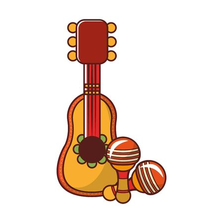 mexico culture and foods cartoons mariachi guitar and the rattles vector illustrationgraphic design  イラスト・ベクター素材