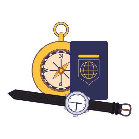 Travel vacations navigation compass wristwatch and passport cartoons