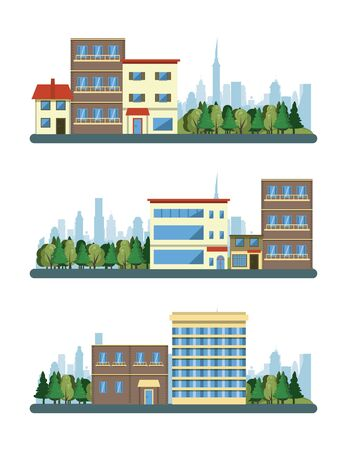 Urban buildings cityscape view set of scenarios collection isolated vector illustration graphic design
