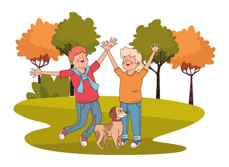 Teenagers friends boy and girl playing with dog in the nature park with trees, landscape scenery ,vector illustration graphic design.