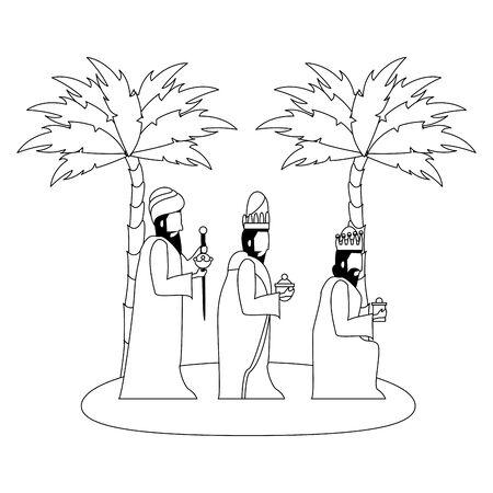 joyeux noël nativité crèche chrétienne religion catholique décembre biblique sages hommes scène dessin animé illustration vectorielle conception graphique