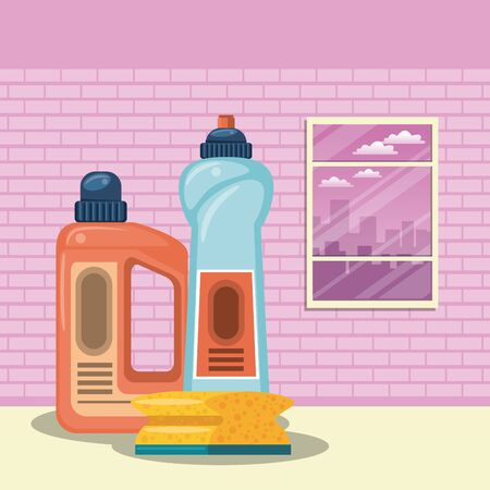 Cleaning products soap bottle and toilet sponge in home vector illustration graphic design Illustration