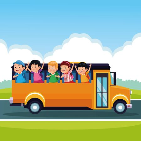 Students kids with backpack in the school bus at sunny day, back to school. vector illustration graphic design Ilustracja
