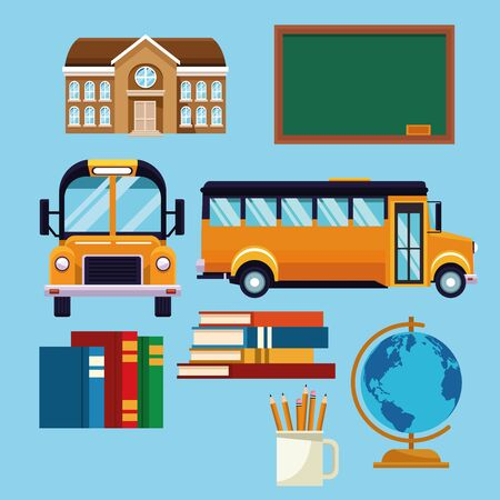 School set of icons cartoons on blue background vector illustration graphic design