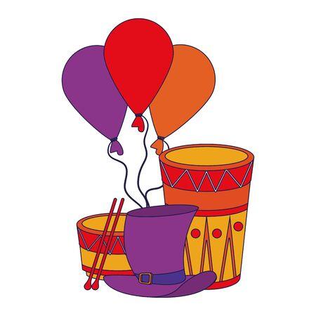 party festive celebration carnival happy entertainment, drums instruments with decoration cartoon vector illustration graphic design Stock Illustratie