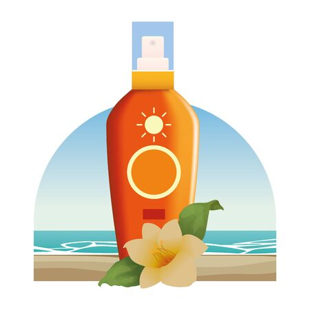 Sun bronzer product with tropical flower cosmetic product on beach scenery background ,vector illustration graphic design.